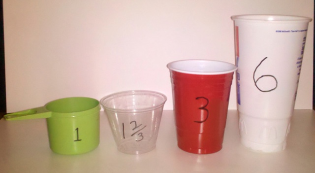 cups sizes used to measure dog food